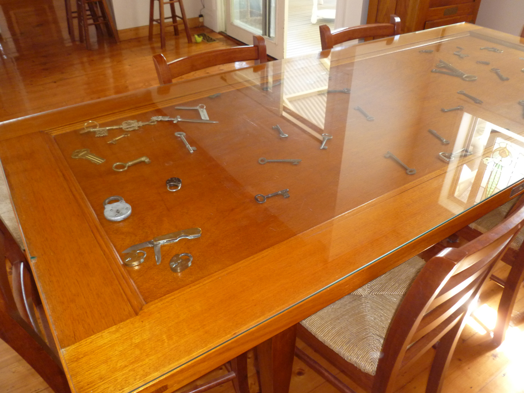 Dining table made from old door - Dining Table Keys
