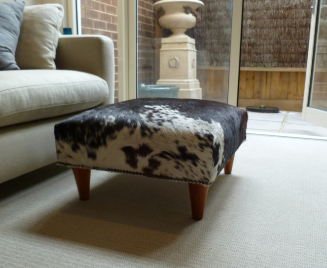 cowhide ottoman, ottoman DIY, ottoman how to, furniture, craft, DIY, fiftysomething, midlife, boomers