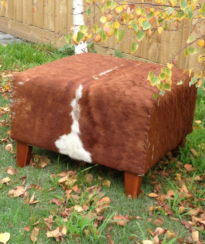 cowhide ottoman, fifty-something, midlife, boomers