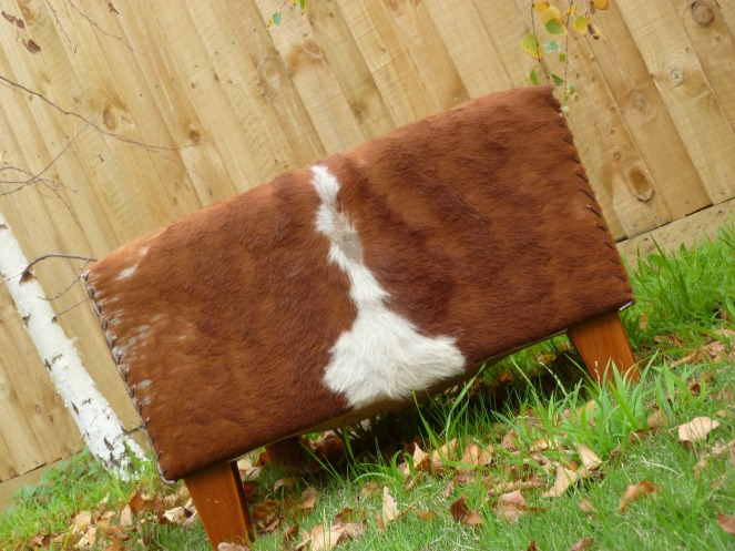 cowhide ottoman diy, ottoman how to, fiftyplus, midlife boomers