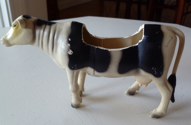 toy animal upcycle, DIY toy animal craft, cow upcycle, cow planter, pink, midlife