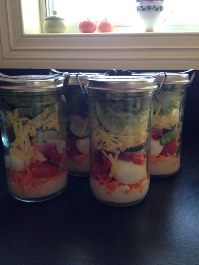 salads in jars, vintage jars, fifty something, midlife, boomers