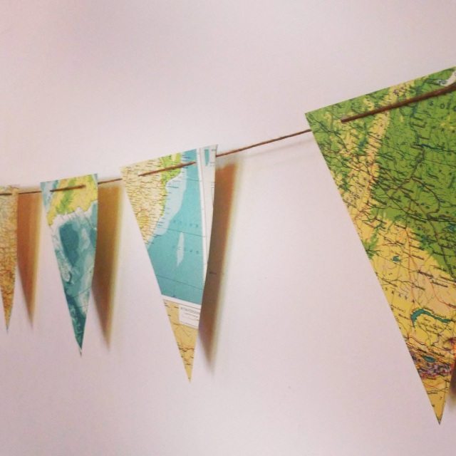 atlas bunting, vintage atlas, upcycled, fifty-something, boomer, midlife