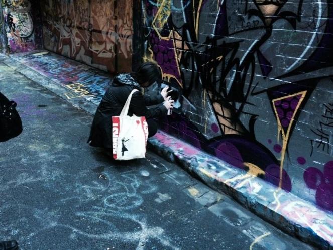 Hosier Lane, Melbourne street art, stencil art, midlife, boomer, fifty-something