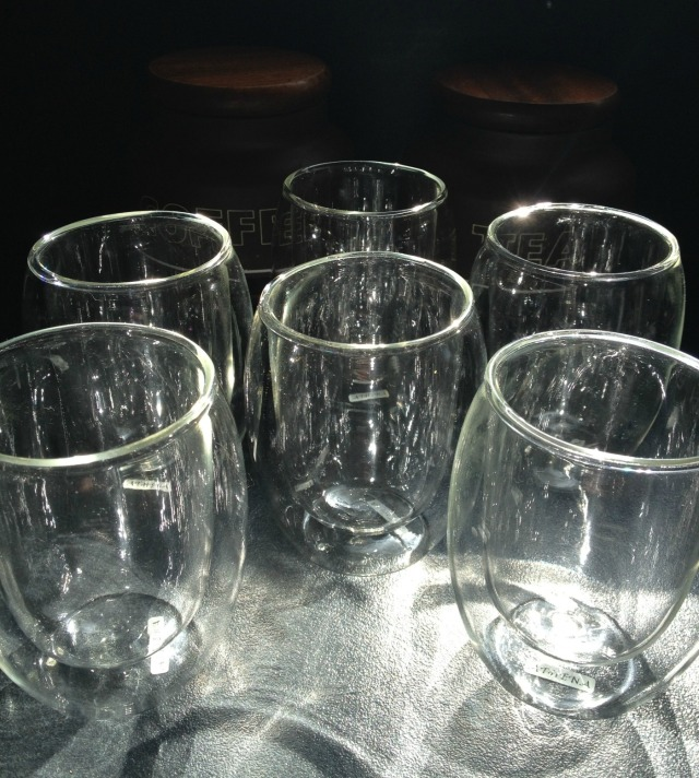 double walled glasses, thrifting, garage sale, yard sale, fifty-something