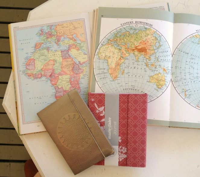 vintage atlases, thrifting, garage sale, yard sale, fifty-something