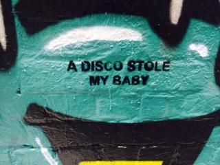 a disco stole my baby, street art melbourne, hosier lane, stencil art, midlife, boomer, fifty-something