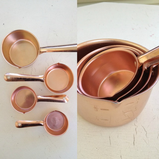 copper measuring cups, copper homewares, thrifting, garage sale, yard sale, fifty-something