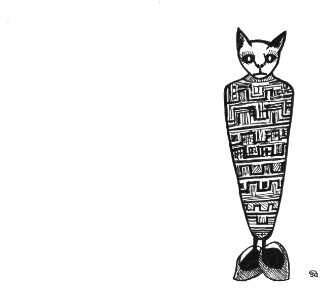 mummified cat, ink drawing, midlife, meetings, freelancing, boomers, fifty-something