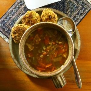 vegie soup, falafels, being fifty-something, frugal living, midlife